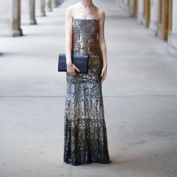 Nicole Miller Dresses | Sequins Ombre Strapless Gown 0 Xs | Poshmark